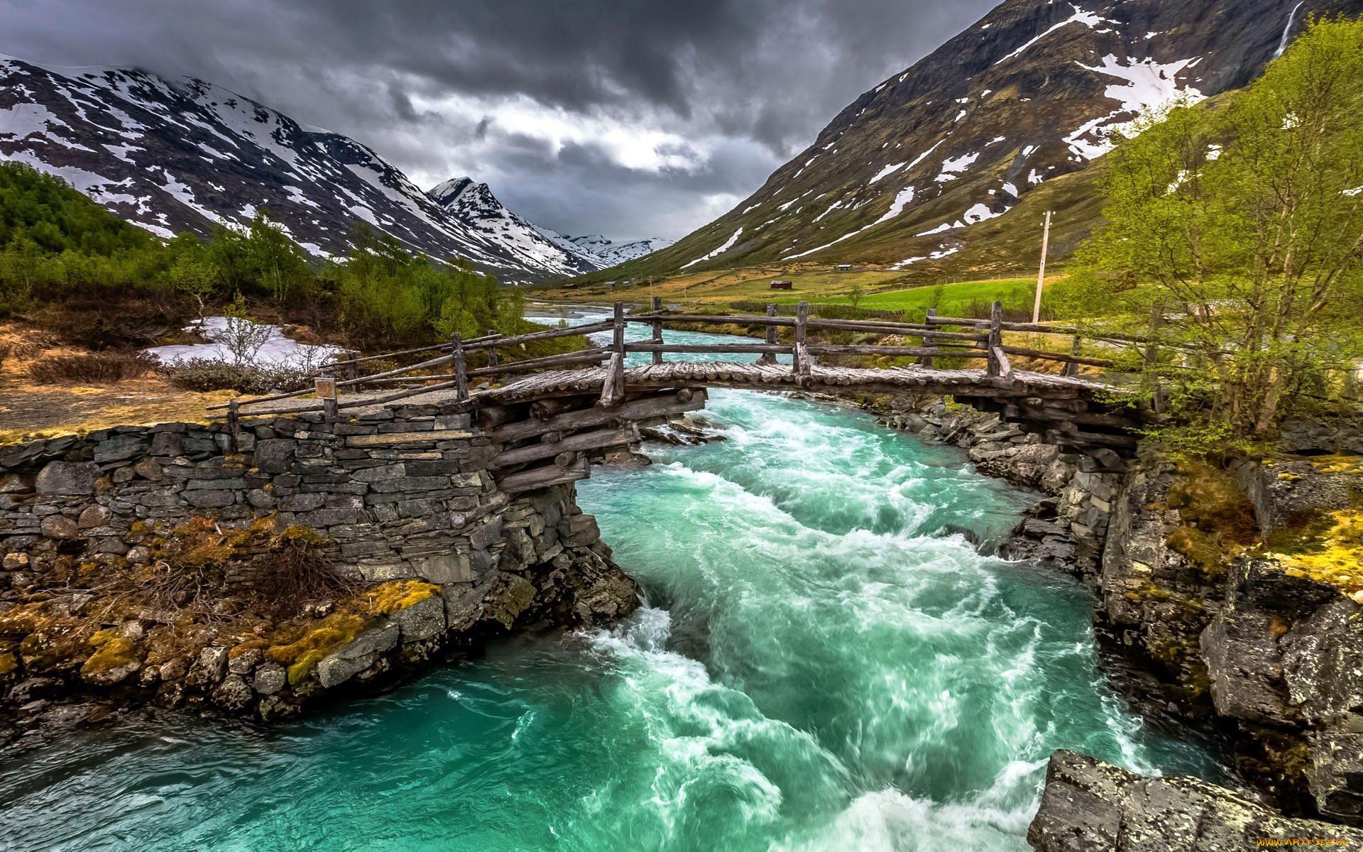 природа, реки, озера, бурный, поток, снег, мостик, река, горы